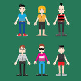 Man characters - teens and young adults. Different character of young men - teens, adults Royalty Free Stock Photo