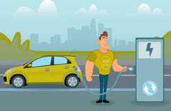 Man charging his electric car at the station. A vector illustration of a man charging his electric car at the station stock illustration