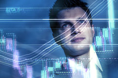 Man and chart. Chart of stock market report superimposed on a portrait of a businessman Stock Images