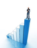 Man on chart. Standing man holding hardcase on 3d blue graph Royalty Free Stock Images