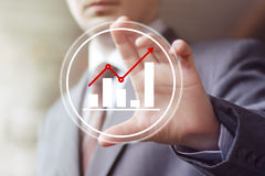 Man with chart business web icon diagram sign. Man with chart business web icon diagram Stock Photos