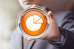 Man with chart online business icon diagrams Royalty Free Stock Photo