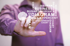 Man with chart web business diagram web percent Stock Images