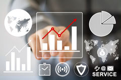Man with chart web business diagrams icon. Man with chart web business diagrams royalty free stock image