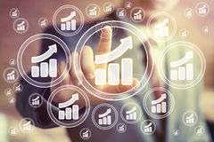 Man with chart web business icon diagram statistic sign Royalty Free Stock Photo