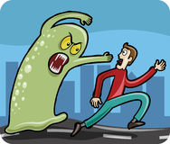 Man chased by Monster. Fearful, frightened man chased by evil blob Monster Royalty Free Stock Image
