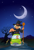 A man chased by an old witch. Illustration of a man chased by an old witch Stock Photo