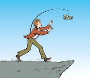 Man chasing money over a precipice. Vector drawing Royalty Free Stock Photography