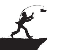 Man chasing money over a precipice. Vector drawing. Adult office guy person in suit overtake flying funds fortune over precipice. Dark ink silhouette drawn Royalty Free Stock Images