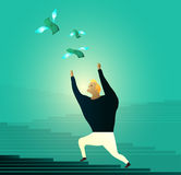 Man chasing money, runs after flying dollar bills Royalty Free Stock Images