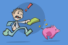 Man chasing a Piggy Bank for investment. Stock Image