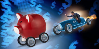 The man chasing piggybank in business concept Royalty Free Stock Photography