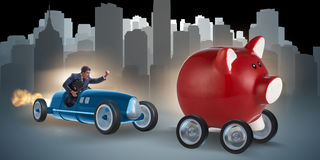 The man chasing piggybank in business concept. Man chasing piggybank in business concept stock images