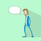 Man chat communication social network color flat Stock Image
