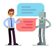 Man chatting and asking for help bot. Chatbot vector concept. Chat bot web online service, robot support chatting illustration stock illustration