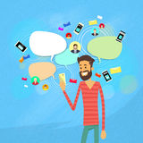 Man Chatting Texting, Social Network Communication Royalty Free Stock Images