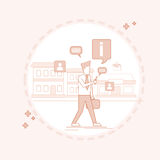 Man Chatting Walking Street Texting, Social Network Communication Thin Line vector illustration