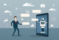 Free Man Chatting With Chat Bot From Digital Tablet Or Cell Smart Phone Digital Support Technology Royalty Free Stock Photos - 105104558