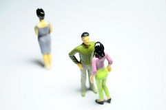 Man chatting with woman, and single woman Royalty Free Stock Photo