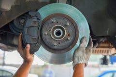 Man check the car brake. Mechanic check the car brake stock image