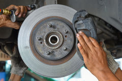 Man check the car brake. Mechanic check the car brake stock photography