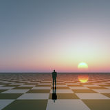 Man on Checkered Horizon Royalty Free Stock Photo