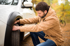 Man checking car tyre. Young bearded man checking car tyre in autumn forest Royalty Free Stock Photo