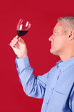 Man checking a glass of red wine Stock Photography
