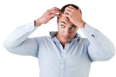 Man Checking Hairline. Isolated in white stock photos