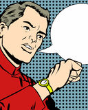 Man checking his watch with speech bubble Stock Photo