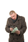 Man checking money Stock Photos
