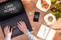 Offer at Cyber Monday. Man checks out an offer at Cyber Monday Royalty Free Stock Photo