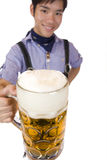 Man cheers with Oktoberfest beer stein (Mass) Stock Photo