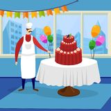 Man Chef Presenting Huge Beautiful Festive Cake. Man Chef Confectioner in White Apron and Toque Presenting Huge Beautiful Festive Cake at Restaurant Decorated vector illustration