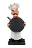 A man chef holding pan Stock Images