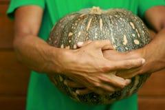 Man chef holding pumpkin Stock Image