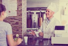 Man chef  taking order from customer Royalty Free Stock Photo