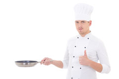 Man in chef uniform thumbs up and holding frying pan isolated on Royalty Free Stock Photography