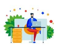 Man chefsammanträde på hans skrivbord med en bärbar dator i kontoret på arbete stock illustrationer
