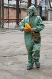 Man in chemical protection suit Stock Photo