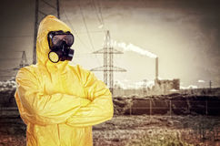 Man in chemical protective suit Stock Photography
