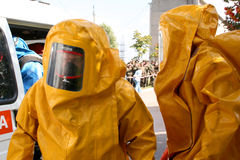 Man in  chemical suit Stock Images