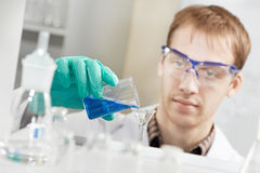 Man chemist scientist researcher in laboratory Royalty Free Stock Images