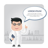 Man chemist and a text bubble. Eps 10 vector illustration