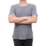 Man chest wearing gray t-shirt Royalty Free Stock Images