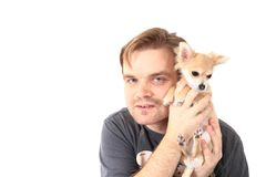 Man and chihuahua Royalty Free Stock Image