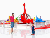 Man, child and amusement park ride against a white background. Computer generated 3D illustration with man, child and amusement park ride against a white Royalty Free Stock Image