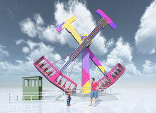 Man, child and amusement park ride. Computer generated 3D illustration with man, child and amusement park ride Stock Image