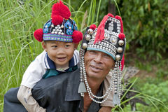 Man with child in Asia, Akha Royalty Free Stock Photography