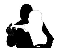 Man and child with berry (silhouette) Royalty Free Stock Photos